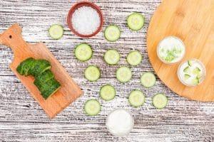 Concombre et sauce menthe fraîche